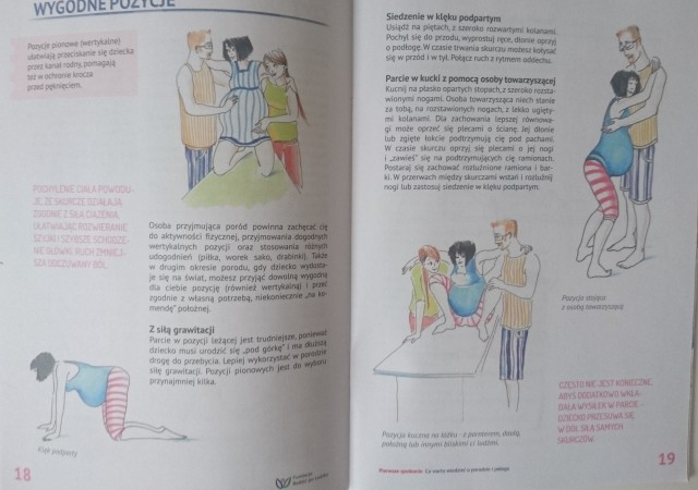 Wygodne pozycje porodowe_tata przy porodzie_broszura Fundacji Rodzić po Ludzku