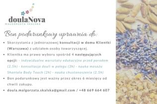 Bon podarunkowy doulaNova_usługi okołoporodowe_Warszawa